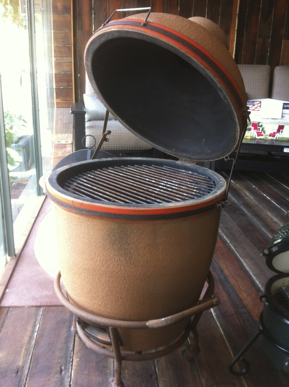 Original Big Green Egg From The Pachinco House Still Works Perfectly With All Original Parts See It At Fireside Outdoor Kitchens