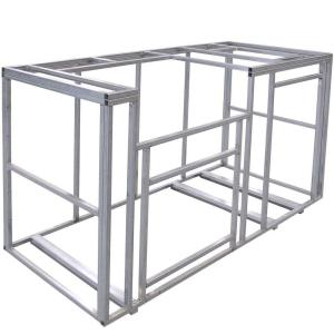 Aluminum square tube frame allows for open access inside the the cabinet and in this case the exterior is made form 3M STO stucco.