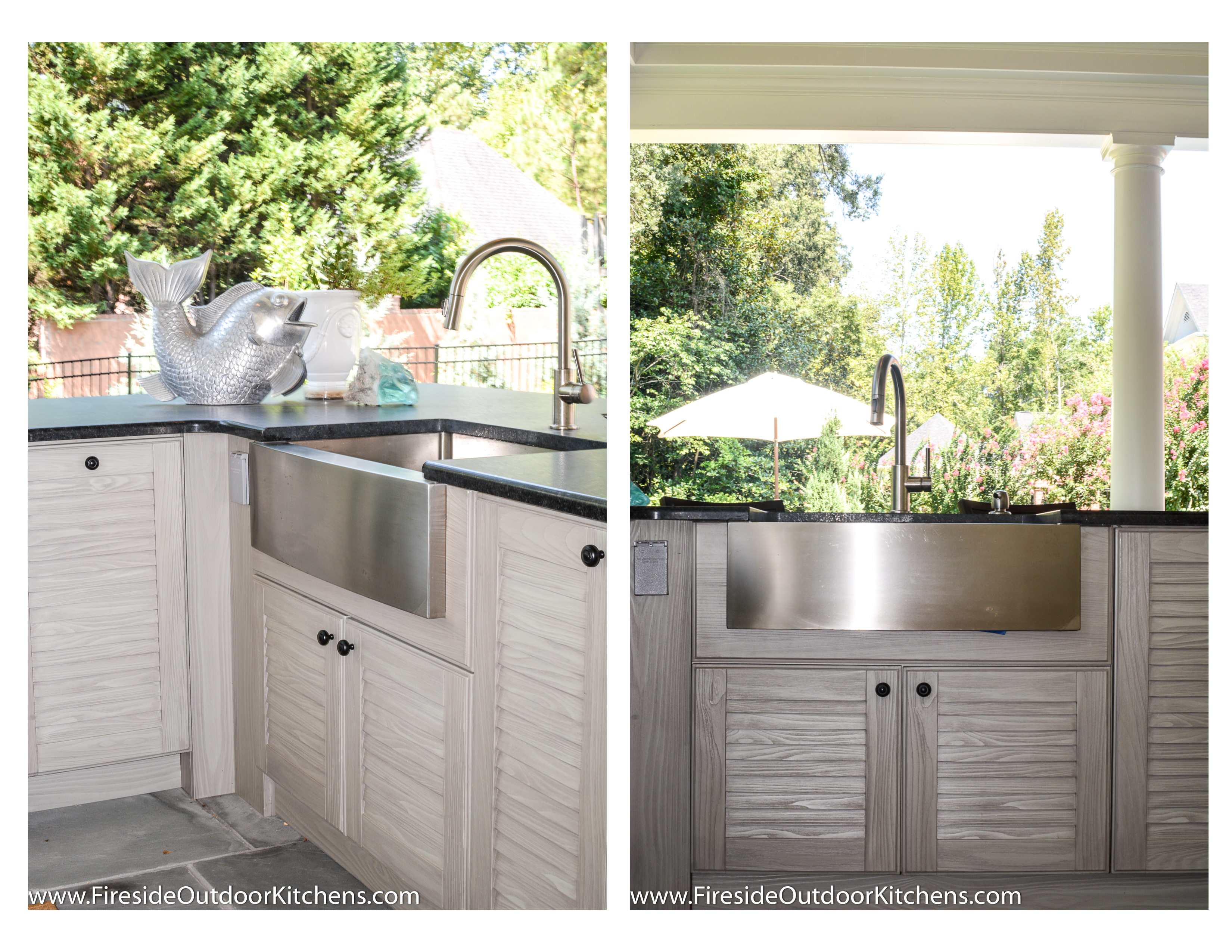 Fireside outdoor kitchen spotlight the gathering spot for Outdoor kitchen with sink and fridge