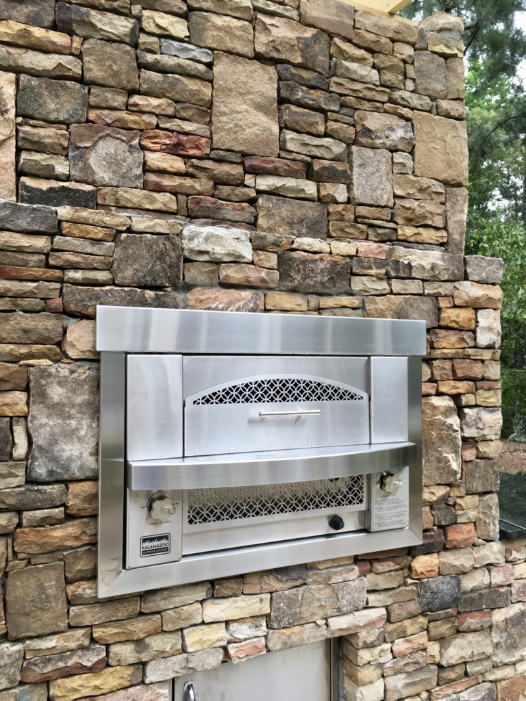 Outdoor Kitchen Built In Gas Pizza Oven Fireside
